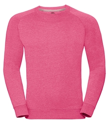 Russell-Mens-HD-Raglan-Sweat-280M-Pink-marl-front